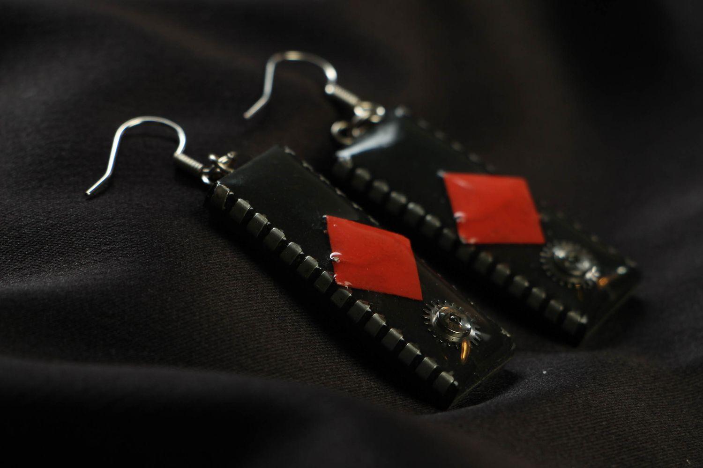 Long metal earrings with microcircuits photo 2