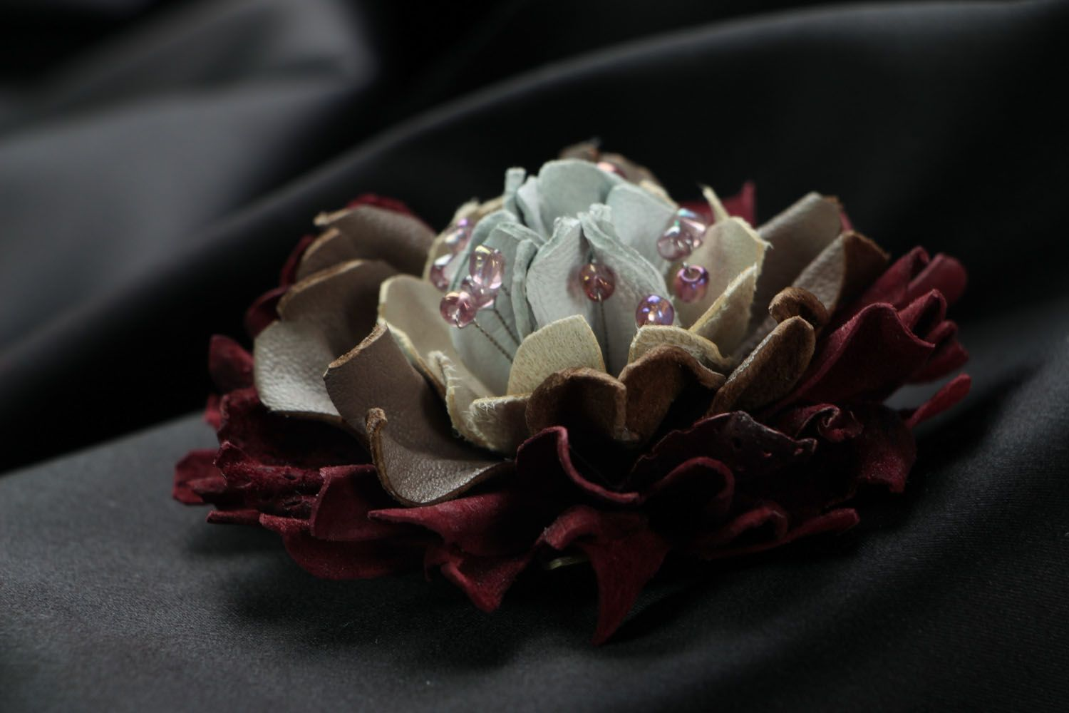 Large leather brooch photo 2