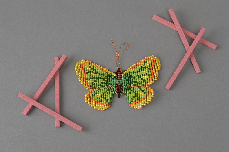 Handmade fridge magnet woven green butterfly made of beads photo 1