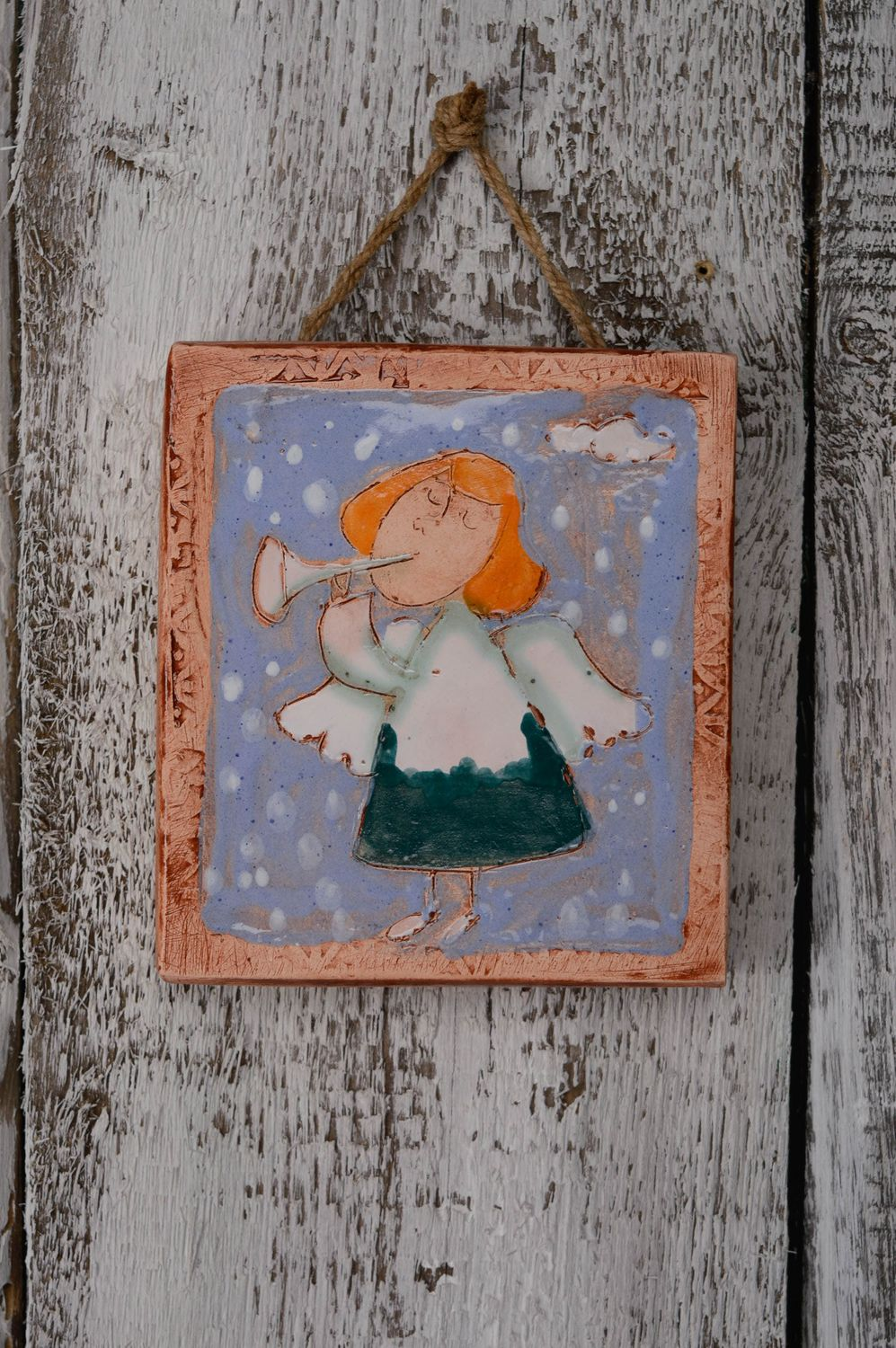 wall decoration Ceramic wall panel Angel - MADEheart.com