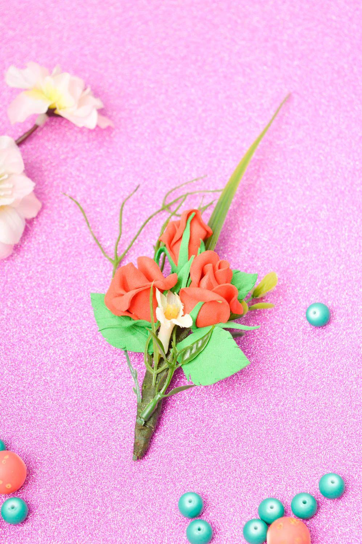 Handmade beautiful brooch unusual wedding boutonniere elegant accessory photo 1