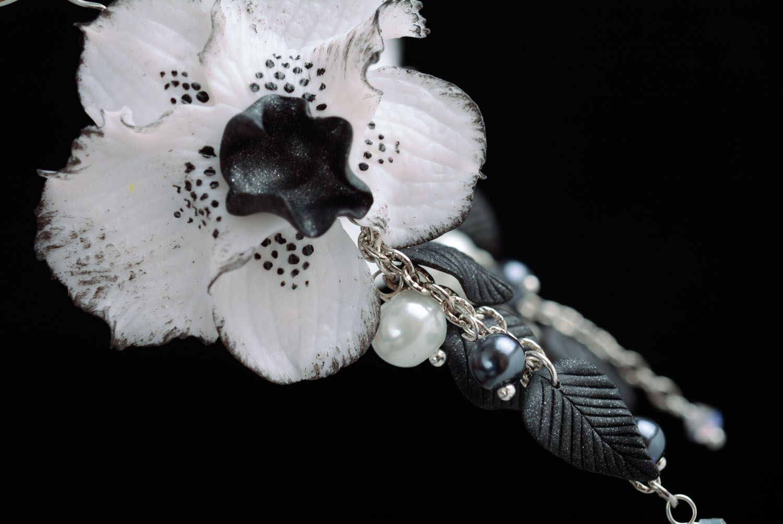 Homemade long earrings Black Orchid photo 2