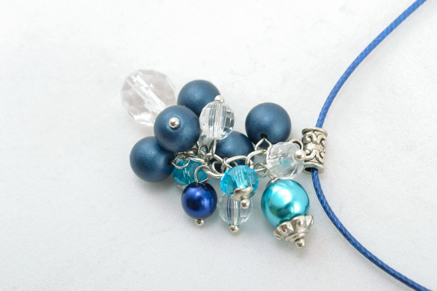Homemade beaded pendant Blue Winter photo 2