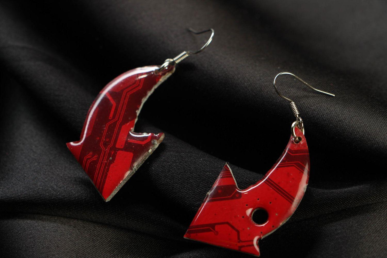 steampunk earrings Unusual earrings in cyberpunk style Red Arrows - MADEheart.com