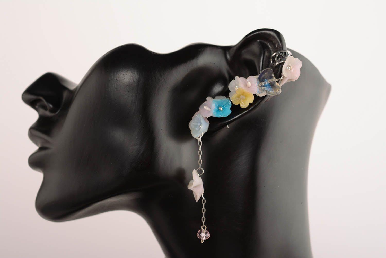 Polymer clay cuff earrings Dew Drop photo 1