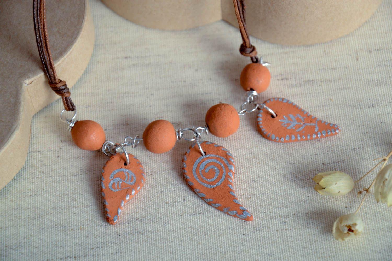 Handmade beaded necklace ceramic beautiful necklace female cute presents photo 1
