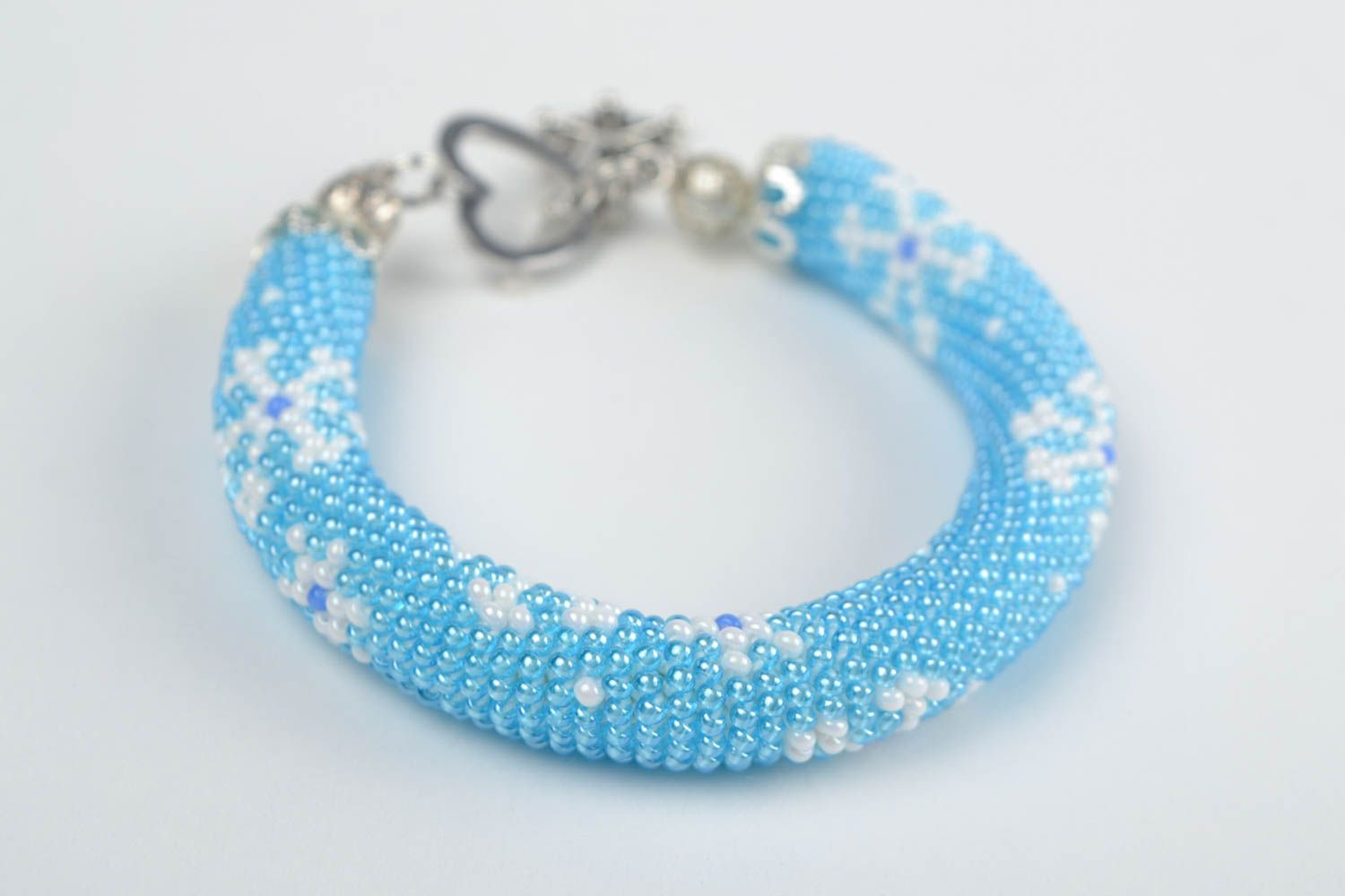 Beautiful handmade woven beaded cord bracelet of blue color with charm Snowflake photo 4