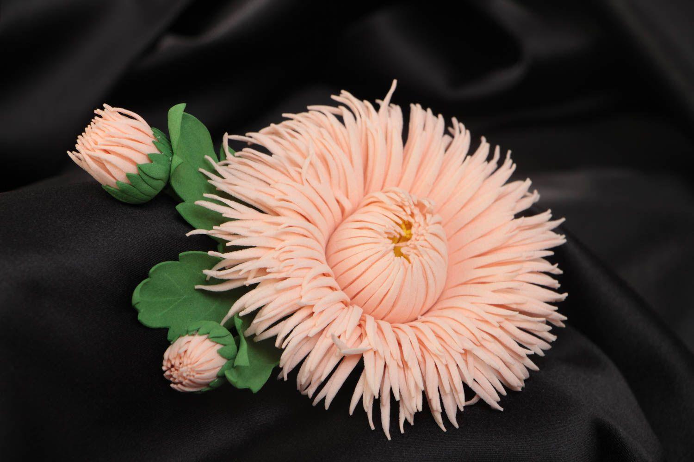 Handmade designer brooch hair clip with foamiran aster flower of pink color photo 1