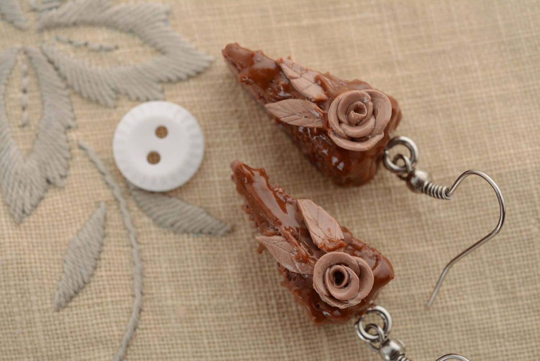 Polymer clay earrings Chocolate Cake photo 3