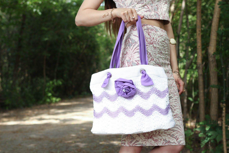 Stylish knitted cotton bag photo 6