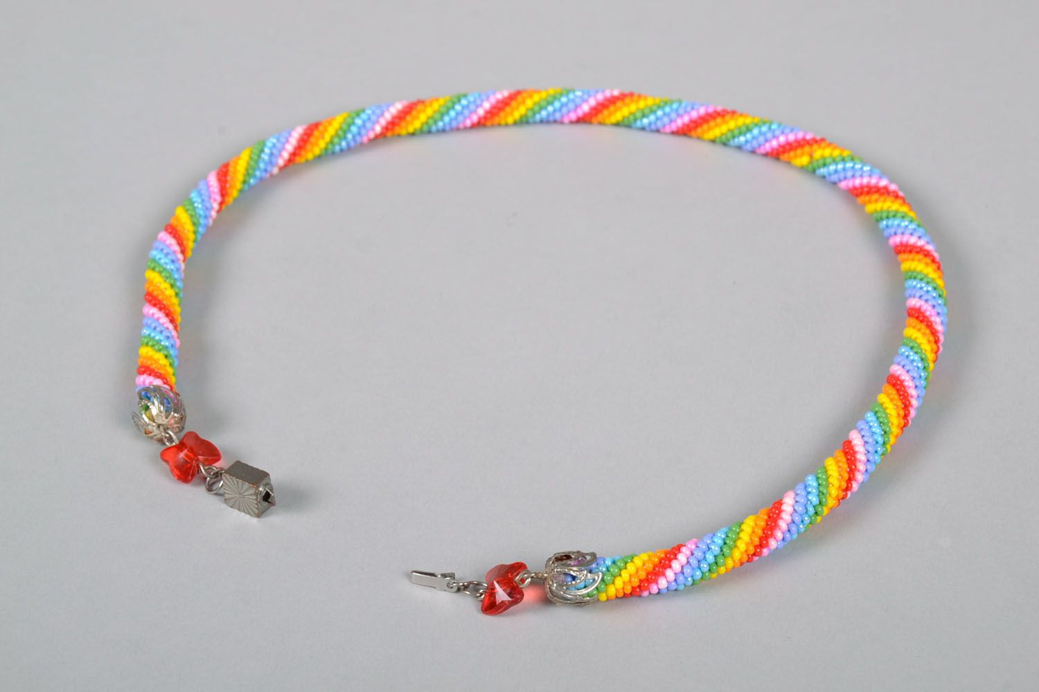 Beaded cord necklace Bright photo 4