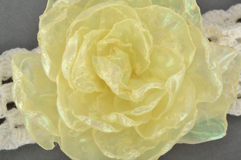 Ajour Haarband mit Blume foto 3