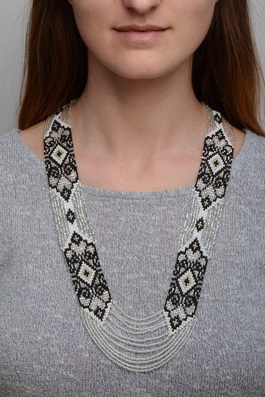 Black and white handmade beaded gerdan necklace photo 1