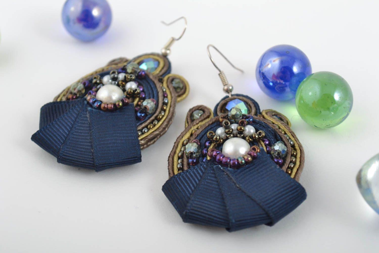 Большие серьги украшения ручной работы сутажные серьги с чешским стеклом синие фото 1
