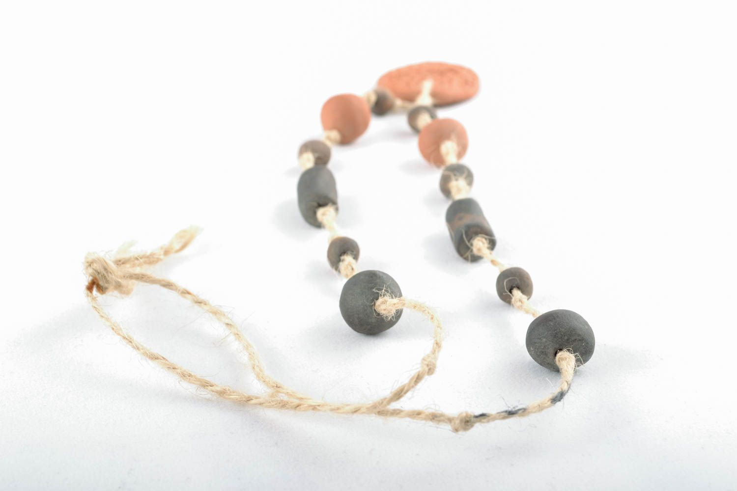 Clay necklace in eco style photo 4