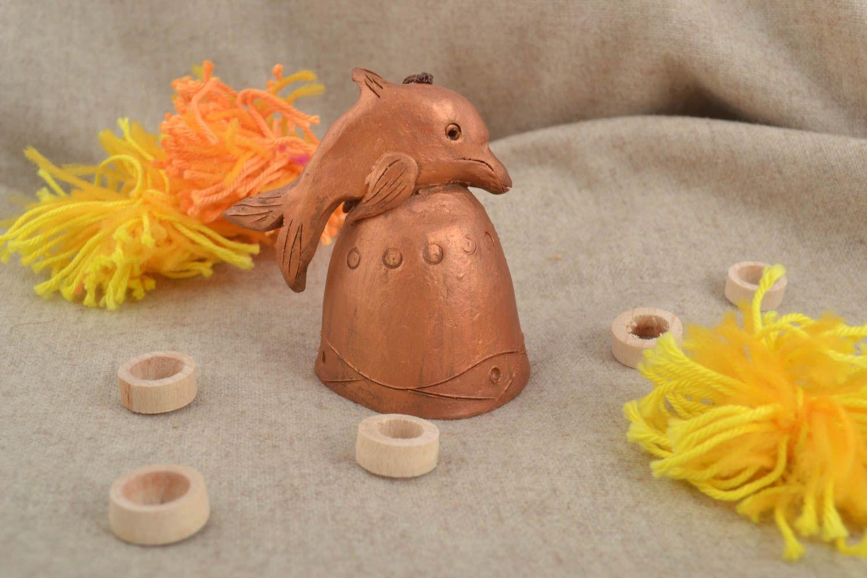Beautiful handmade ceramic figurine clay bell pottery art interior decorating photo 1