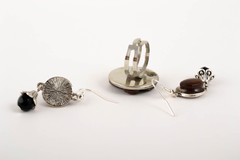 Unusual handmade epoxy earrings epoxy ring gemstone jewelry set handmade gifts photo 4