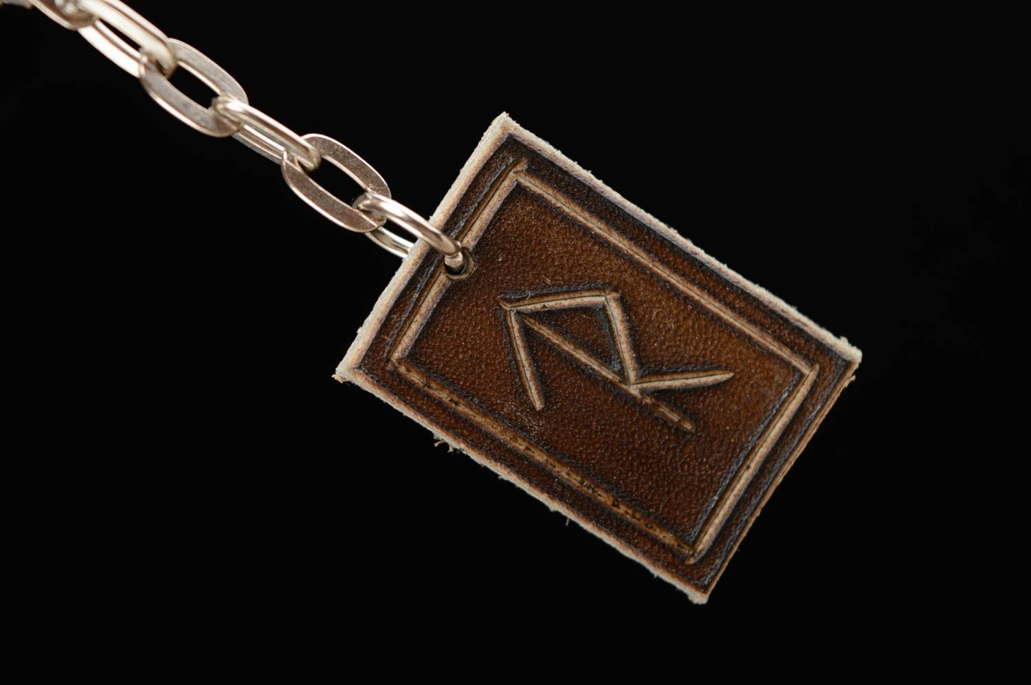 keychains Genuine leather keychain with runes Inevitable Success - MADEheart.com