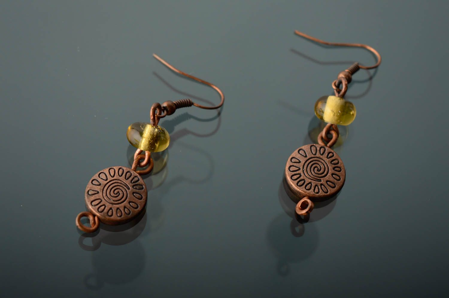 Copper earrings with lampwork beads photo 1