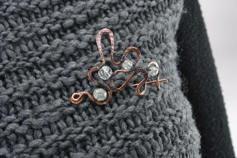 Wire wrap copper brooch photo 5