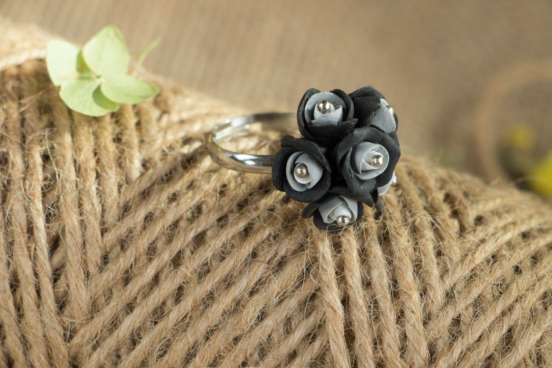 Handmade ring Black and Grey Roses photo 4