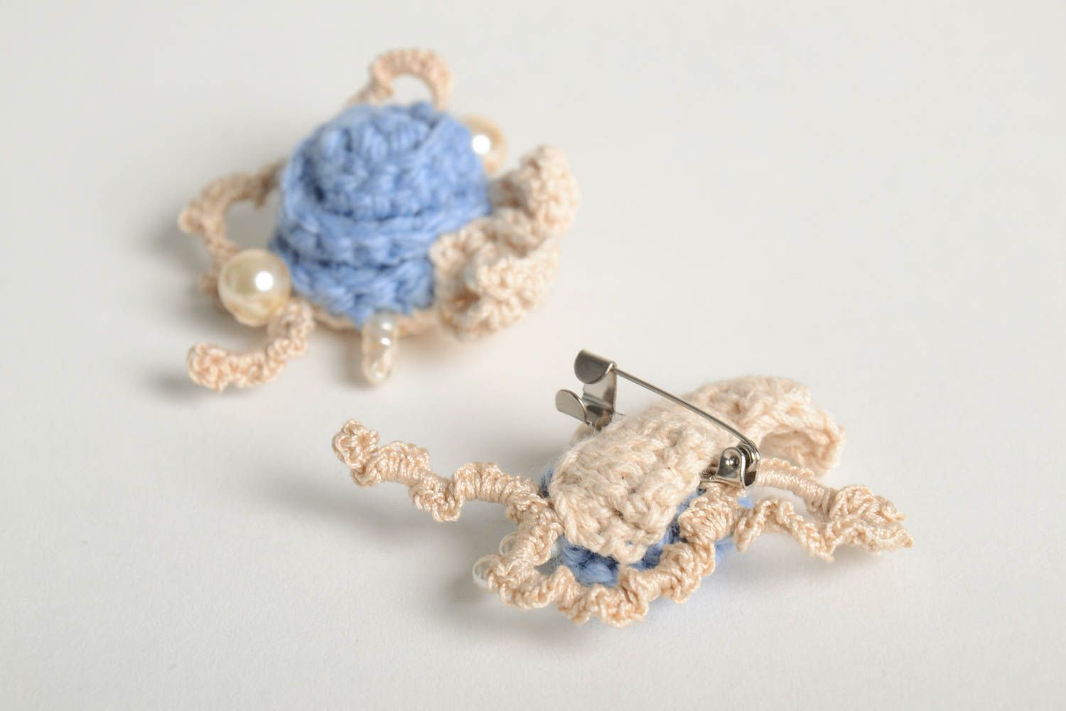 Fabric brooch handmade crocheted brooch textile brooches fashion accessories photo 3