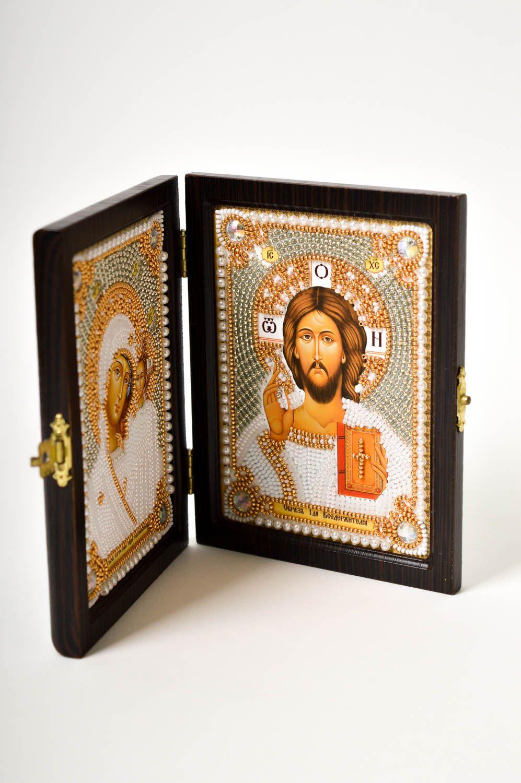 Handmade beautiful icon embroidered family icon religious housewarming gift photo 4