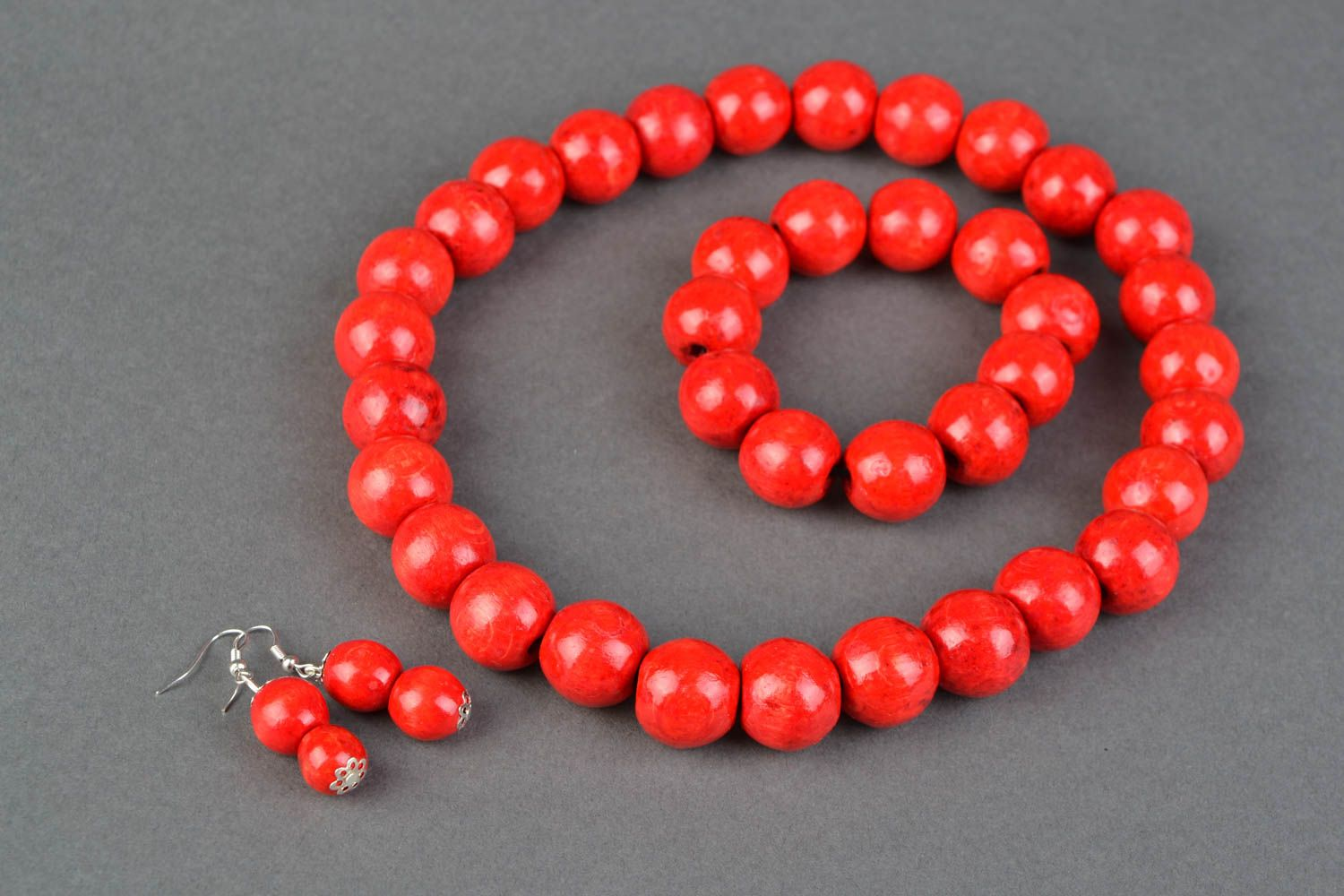 Wooden jewelry set of bead necklace and bracelet and earrings Guelder Rose photo 3