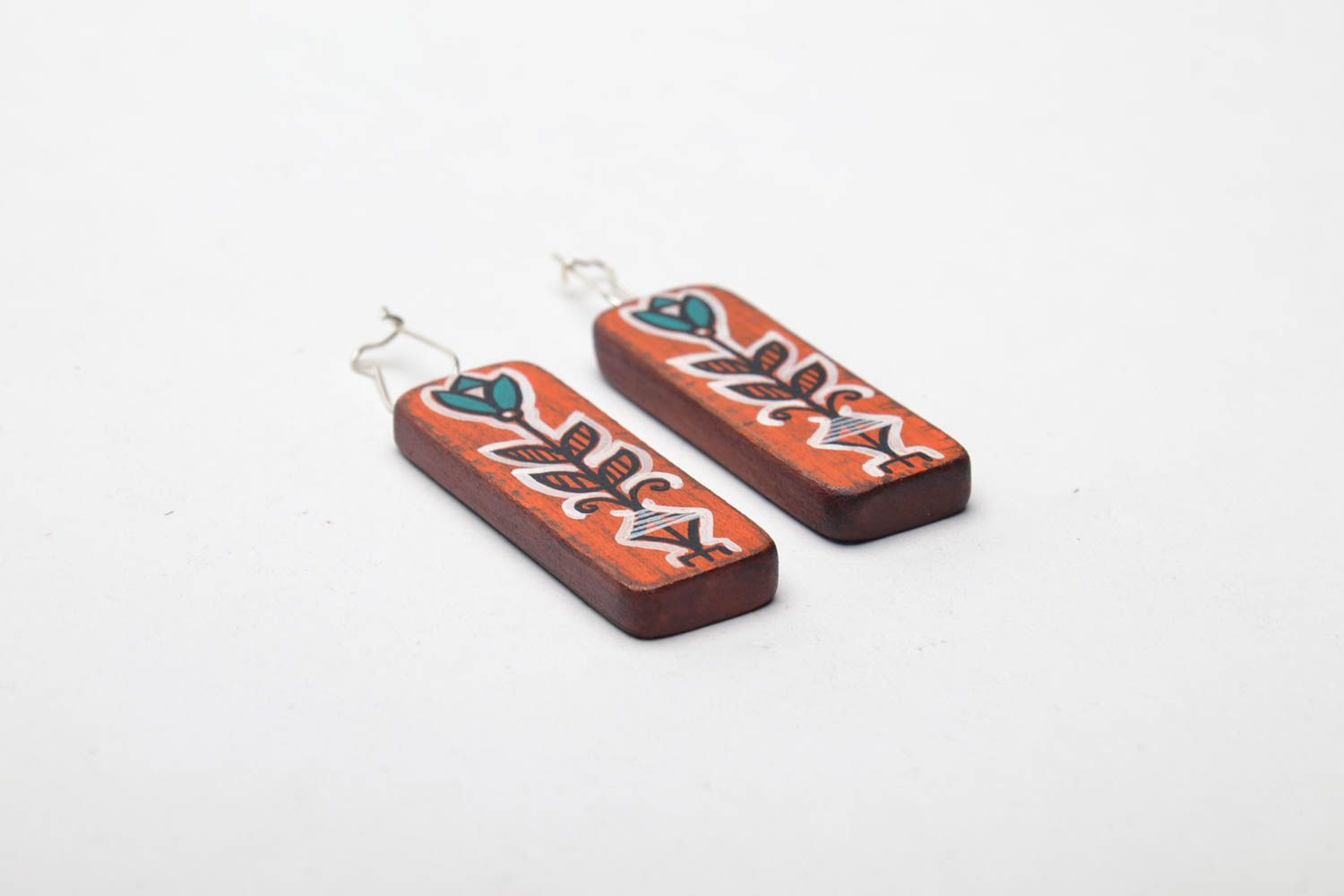 Hand painted wooden earrings photo 3