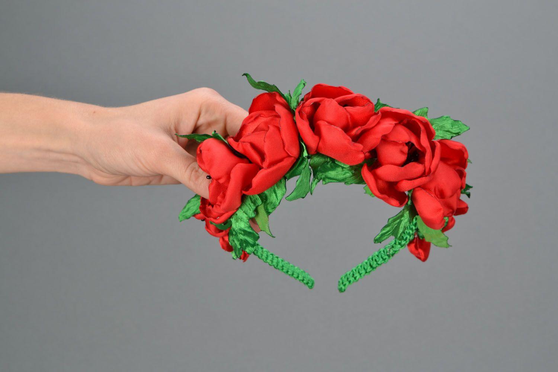 Haarreif aus Stoff Rote Mohnblumen foto 2