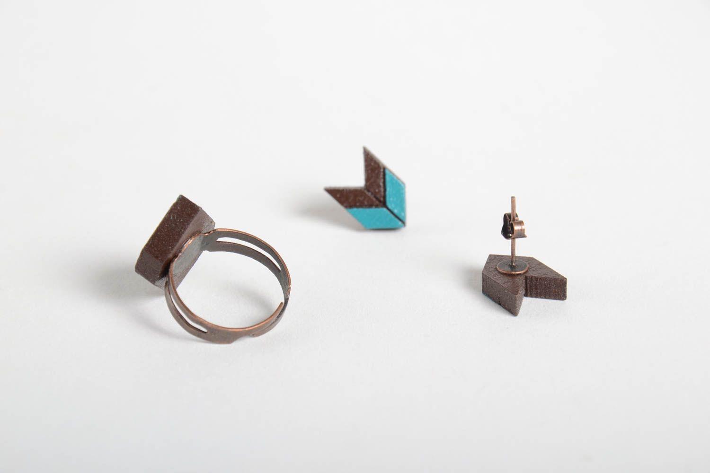 Damen Schmuck Set handmade Schmuck ausgefallener Ohrschmuck und Ring aus Holz foto 5