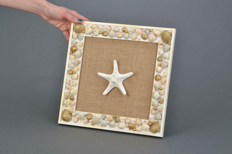 MADEHEART > Cuadro artesanal con conchas y estrella del mar panel ...