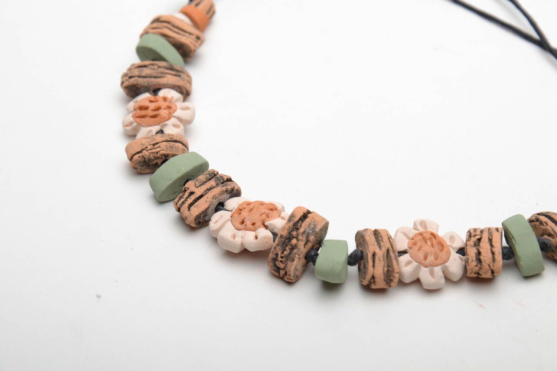 Глиняный браслет на вощеном шнурке фото 5