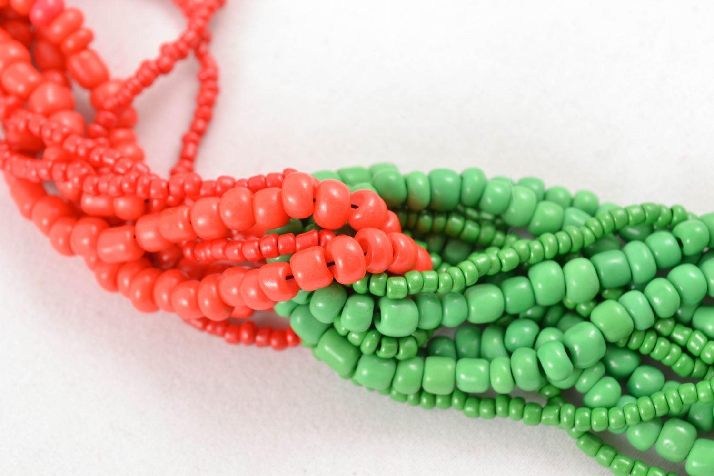 Mehrreihige Halskette aus Glasperlen rot-grün foto 2