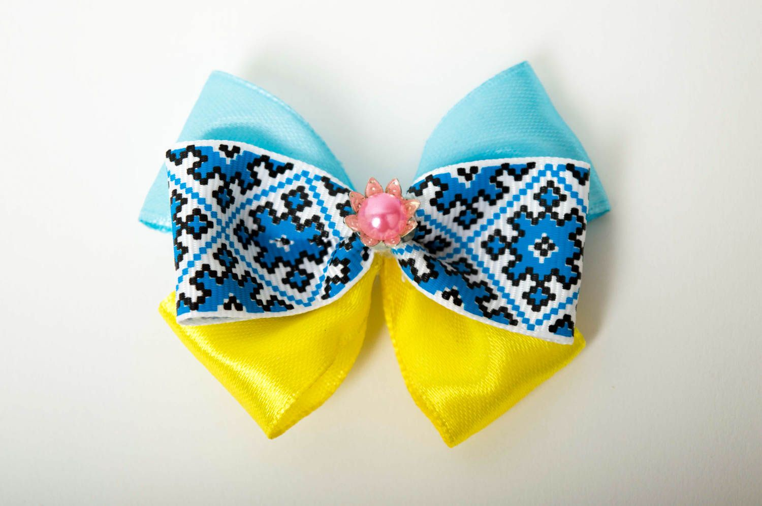Beautiful handmade textile barrette bow hair clip childrens hair bow ideas photo 5