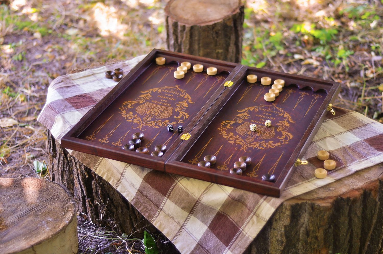 Wooden backgammon set photo 2