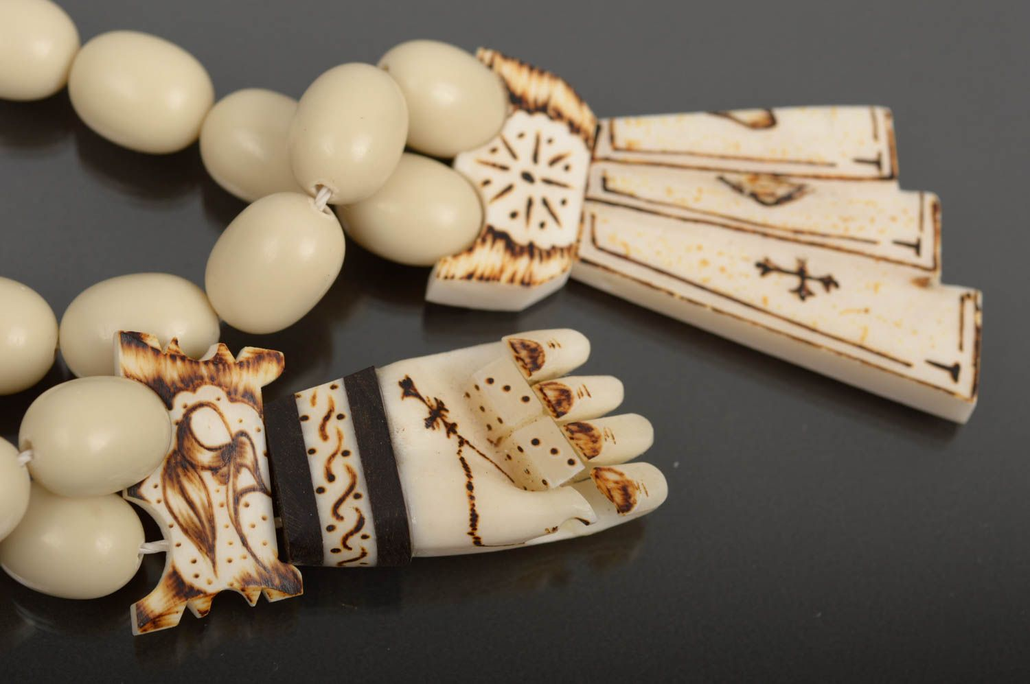 rosary beads Handmade rosary designer souvenir unusual gift bone rosary church utensils - MADEheart.com