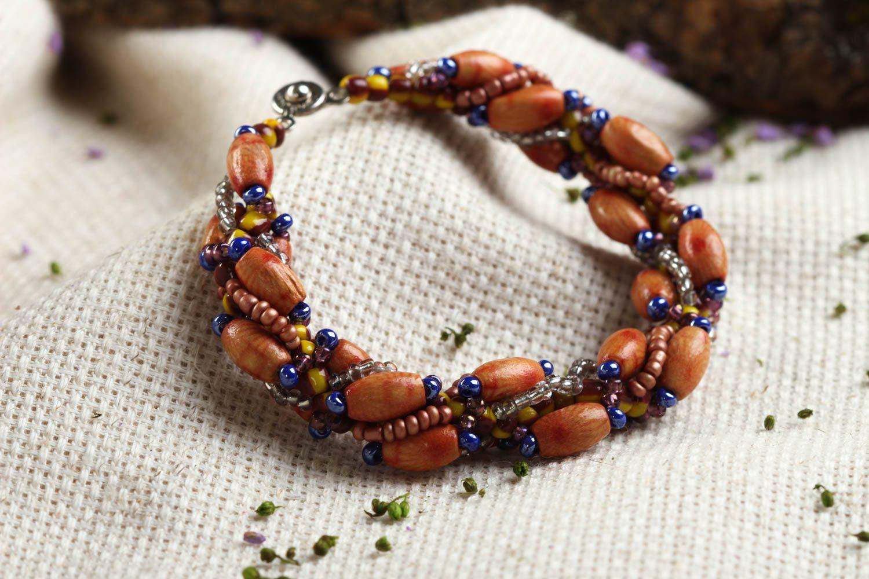 pulseras de madera Pulsera de abalorios y cuentas de madera bisutería  artesanal accesorio de moda ,