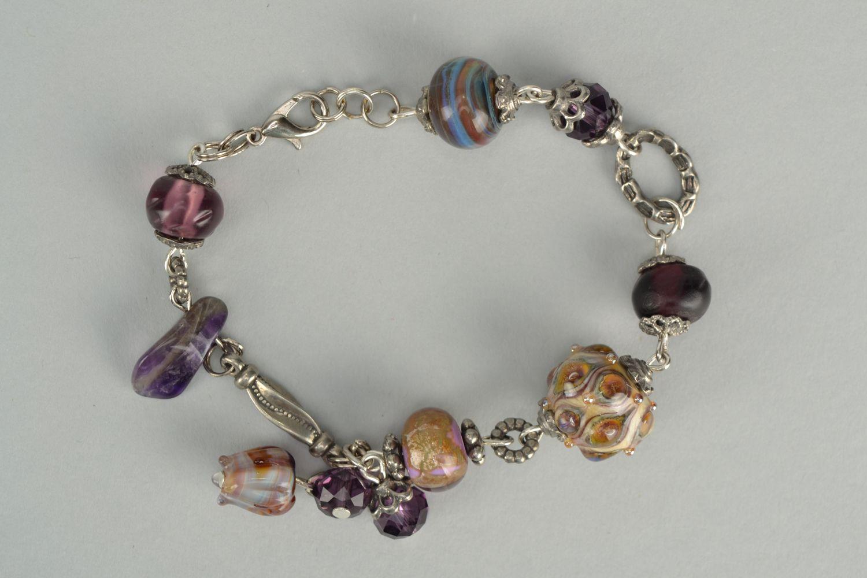 Wrist bracelet with lampwork glass beads Peacock Eye photo 1