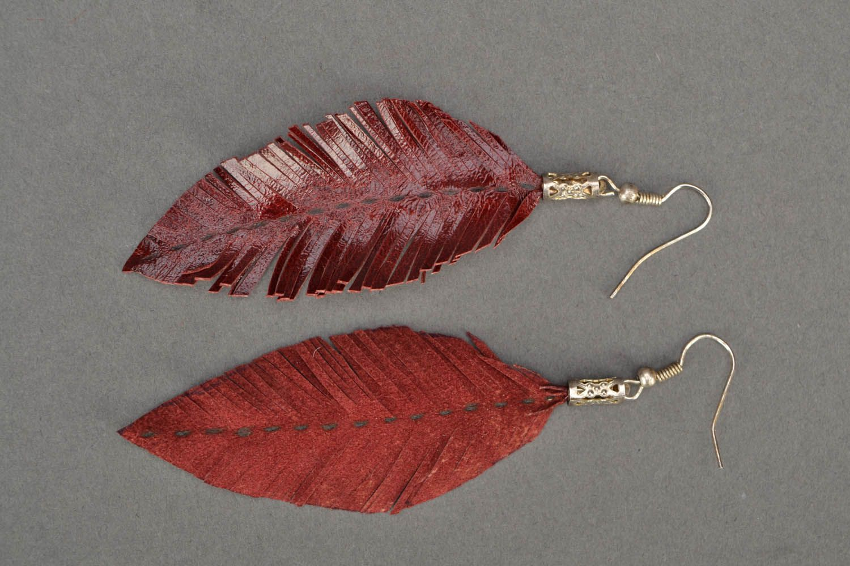 Leather leaf earrings  photo 4