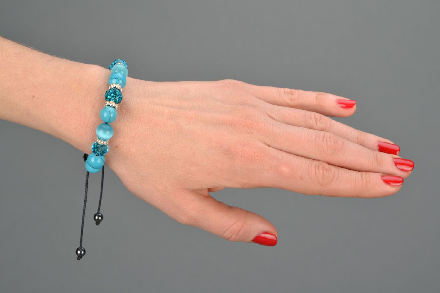 Homemade bracelet with natural stones Blue Sky photo 1