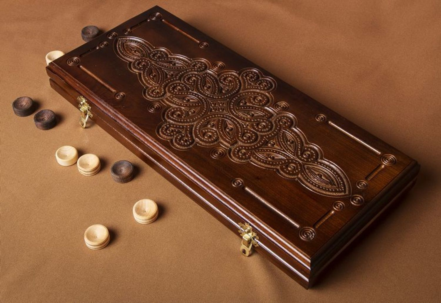 Handmade wooden backgammon photo 2