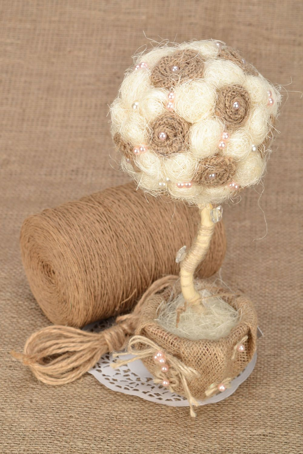 Tree of happiness with beads and sisal photo 1