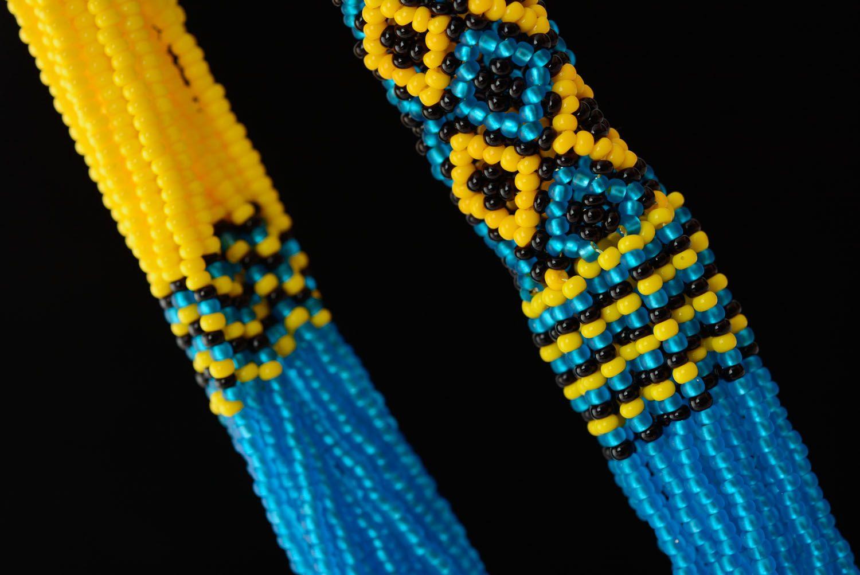 Blau gelbes Schmuckset aus Glasperlen Collier und Ohrringe foto 2