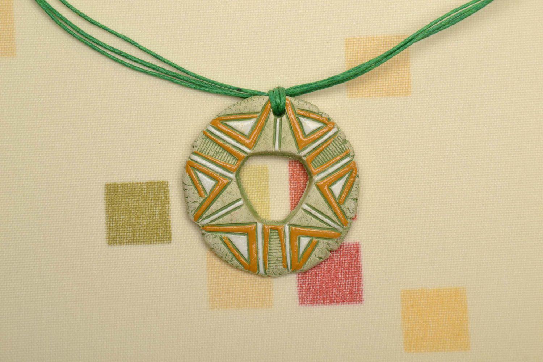 Ceramic pendant in ethnic style photo 1