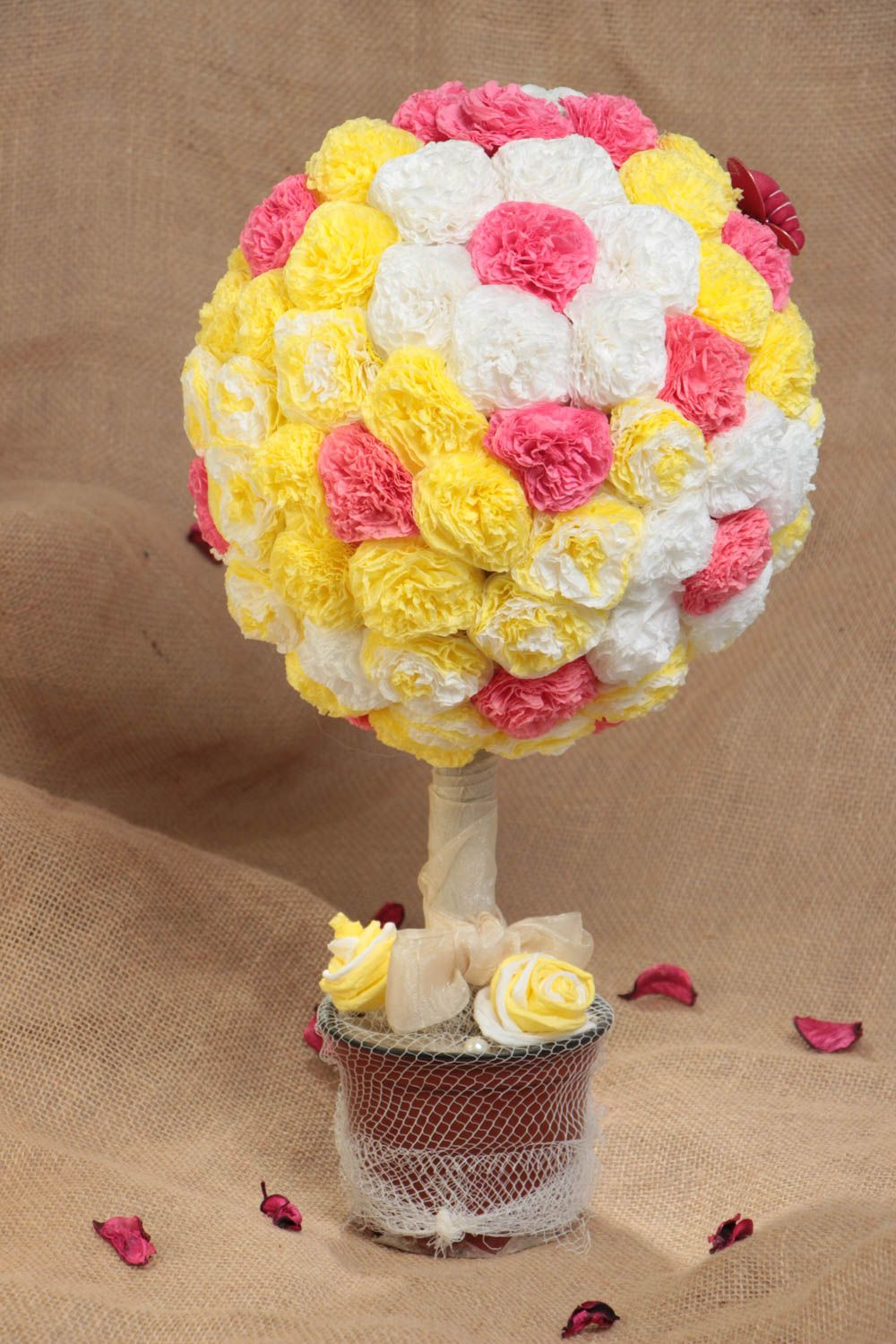 Madeheart Handmade Round Colorful Topiary Tree With Yellow Pink