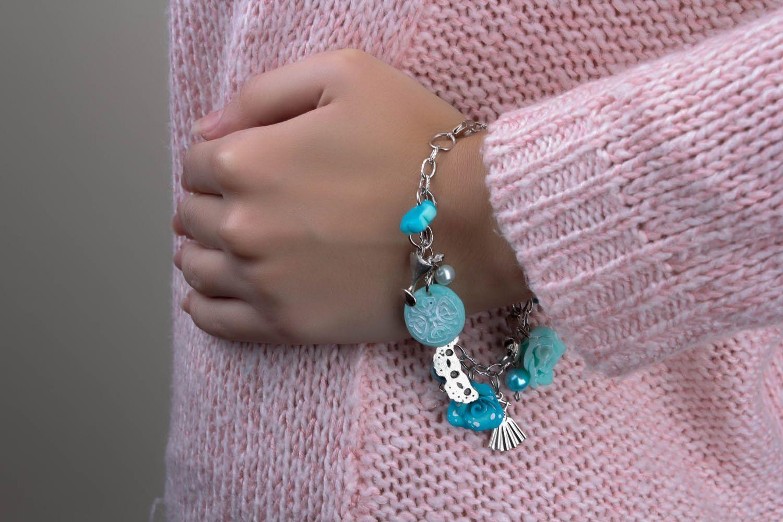 Polymerton Armband Blaue Rosen foto 4