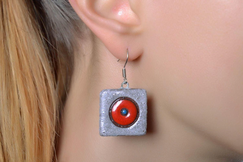 Square ceramic earrings photo 2