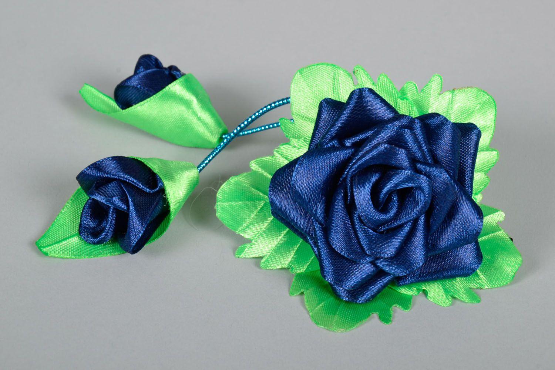 Hair clip Blue Rose photo 3
