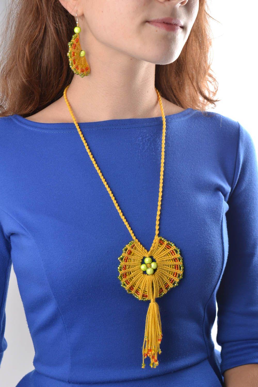 Macrame jewelry set handmade earrings pendant necklace fashion accessories photo 1